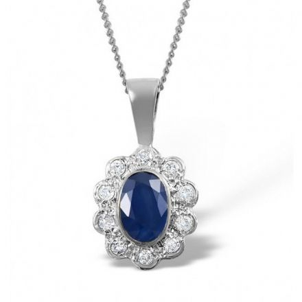 9K White Gold 0.10ct Diamond & 6mm x 4mm Sapphire Pendant, Z1496
